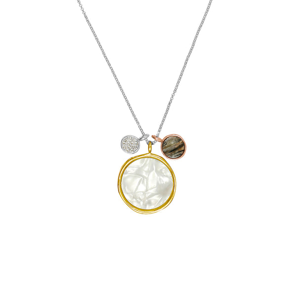 Large Organic Circle Resin Charm Necklace - Crystal/Rhodium/Gold/Rose Gold Plated