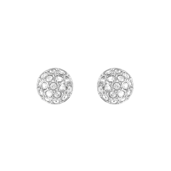 Rhodium Adore Natural Mini Organic Circle Studs Detail