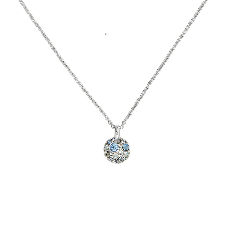 Mini Metallic Pavé Disc Necklace - Blue Multi/Rhodium Plated