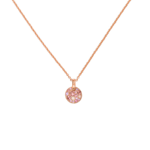 Mini Metallic Pavé Disc Necklace - Pink Multi/Rose Gold Plated