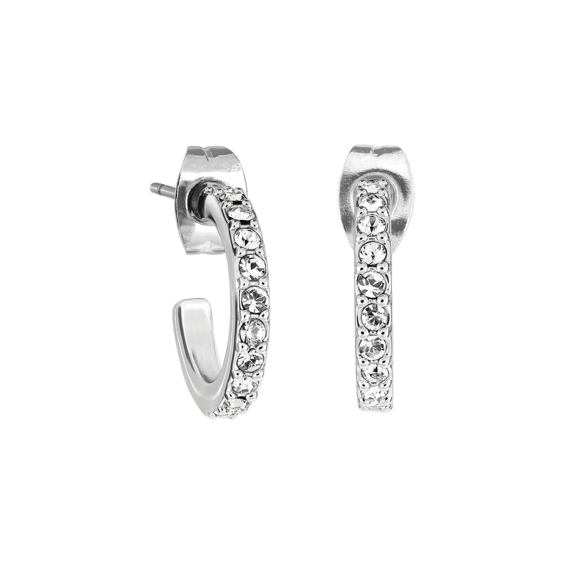 Adore Allure Rhodium Plated Pavé Hoops Detail
