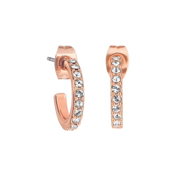 Adore Allure Rose Gold Plated Pavé Hoops Detail