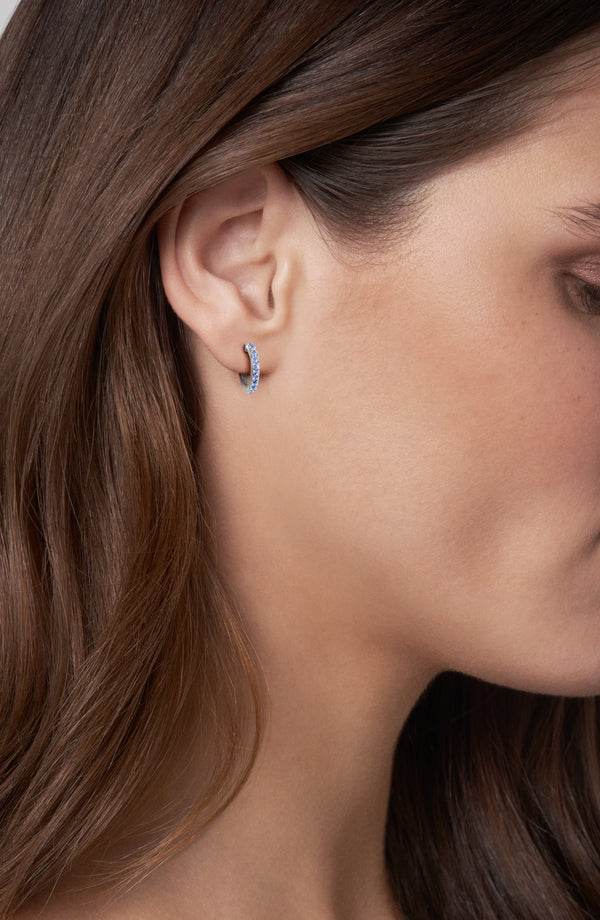 Adore Allure Sapphire Pavé Hoops Worn
