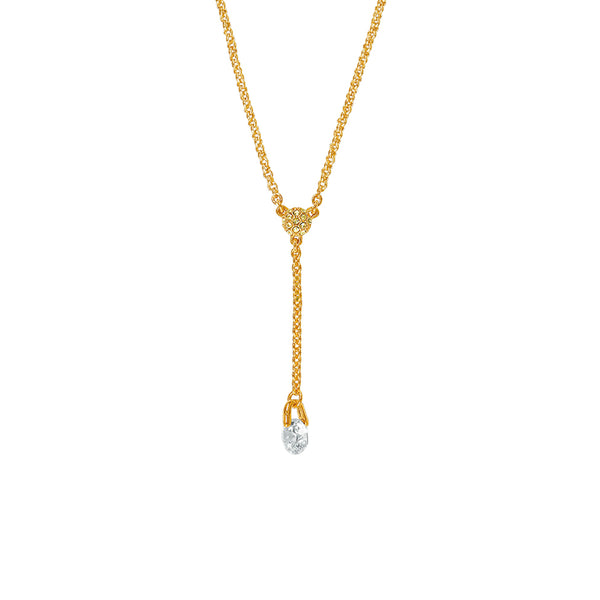 Pavé & Round CZ Y Necklace - Crystal/Gold Plated