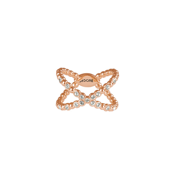 Adore Allure Beaded Crossing Ring Detail