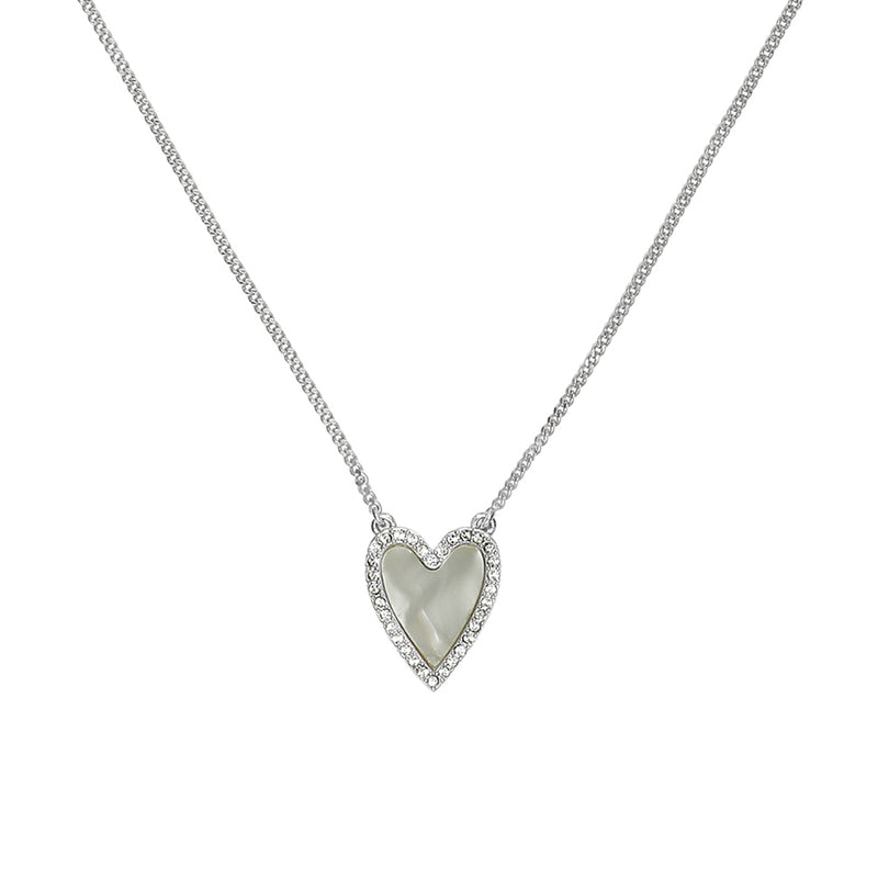 Adore Naturale Rhodium Pavé Resin Heart Necklace Detail