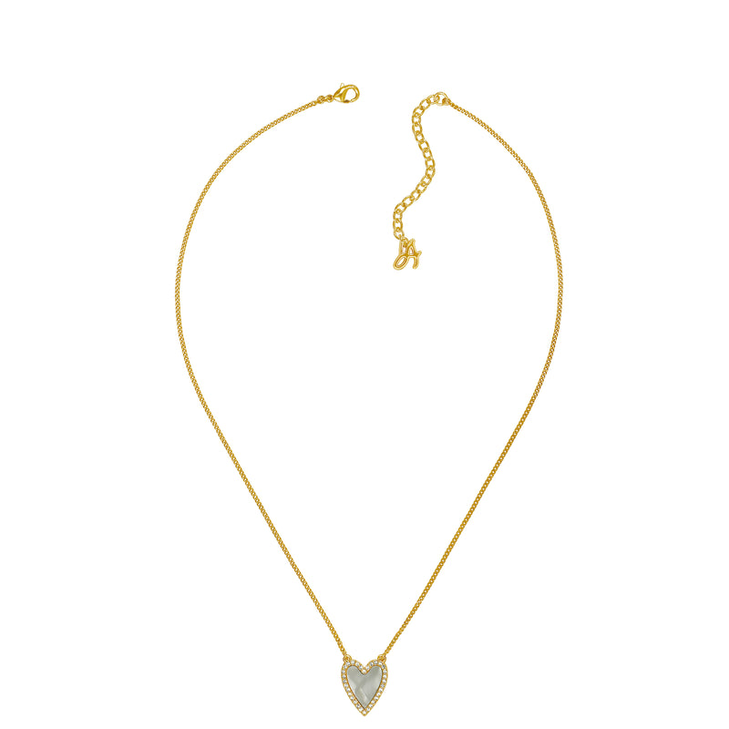 Adore Naturale Gold Pavé Resin Heart Necklace