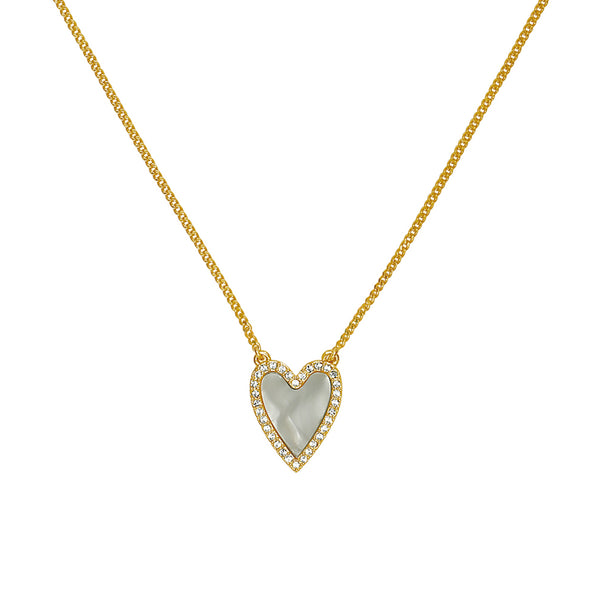 Pavé Resin Heart Necklace - Crystal/Gold Plated