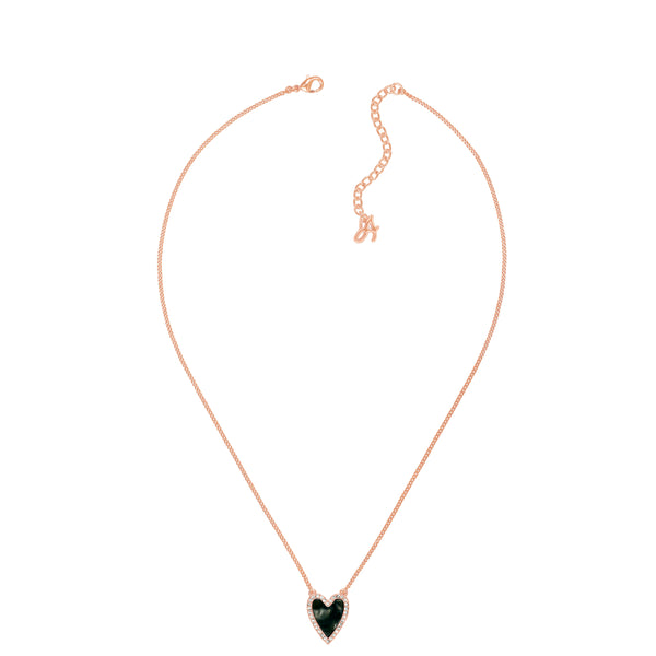 Adore Naturale Rose Gold Pavé Resin Heart Necklace