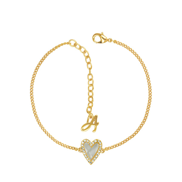 Adore Naturale Gold Pavé Resin Heart Bracelet Detail