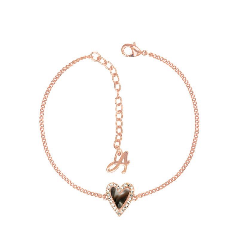 Adore Naturale Rose Gold Pavé Resin Heart Bracelet Detail