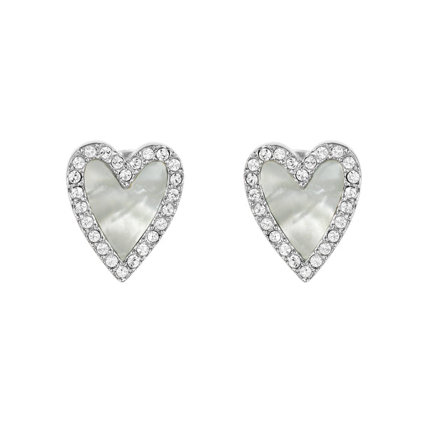 Adore Naturale Rhodium Pavé Resin Heart Earrings Detail
