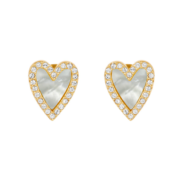 Adore Naturale Gold Pavé Resin Heart Earrings Detail