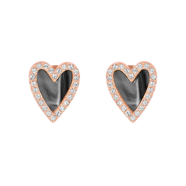 Pavé Resin Heart Earrings - Crystal/Rose Gold Plated