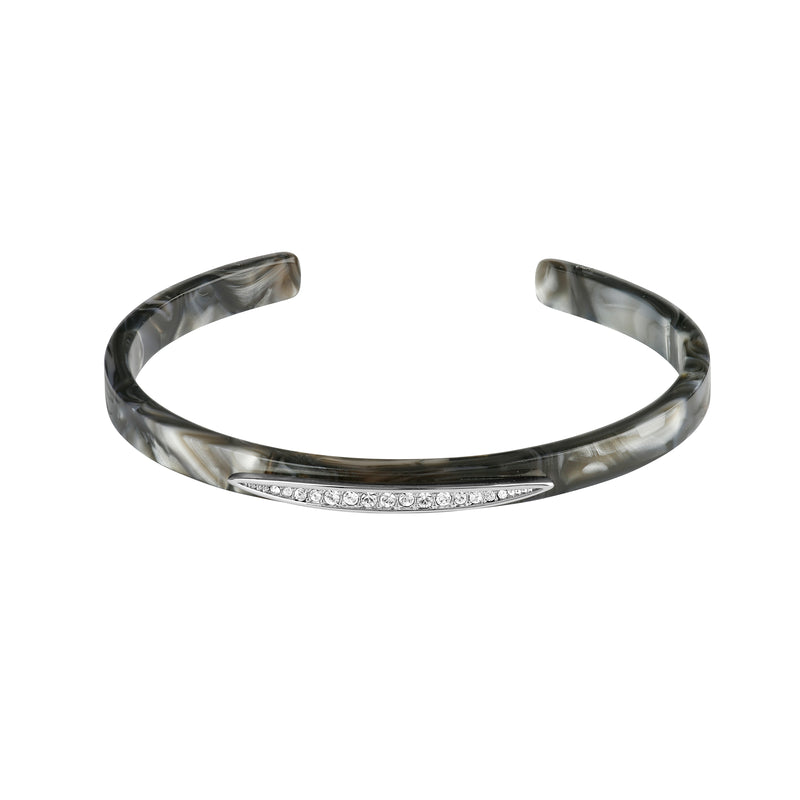 Rhodium Plated Adore Naturale Pavé Navette Resin Cuff Detail
