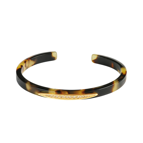 Gold Plated Adore Naturale Pavé Navette Resin Cuff Detail