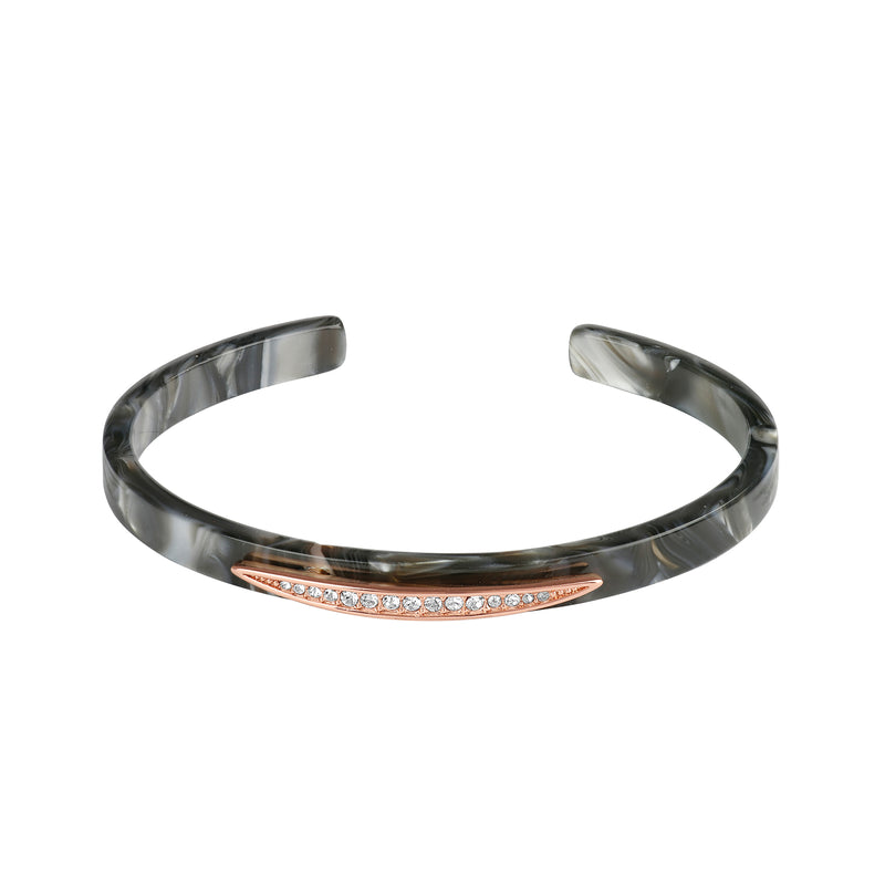 Rose Gold Plated Adore Naturale Pavé Navette Resin Cuff Detail