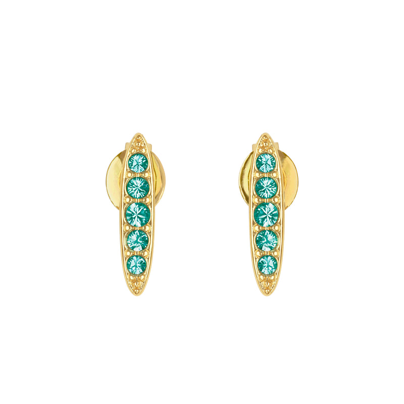 Adore Allure Light Turquoise Pavé Navette Stud Earrings Detail