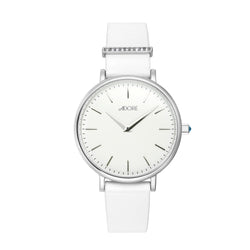 Adore Elegance 33mm White Leather Watch Front Detail