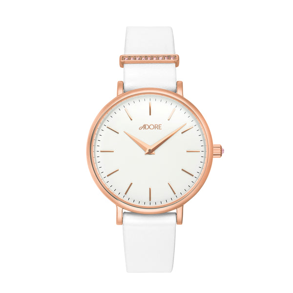 Rose Gold Adore Elegance 33mm White Leather Watch Front Detail
