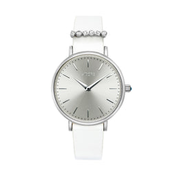 Adore Brilliance 33mm White Leather Watch Rhodium Detail