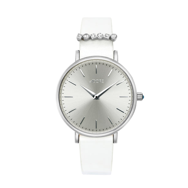 Brilliance 33mm White Leather Watch - Rhodium Plated / Swarovski® Crystal