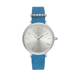 Brilliance 33mm Light Blue Leather Watch - Rhodium Plated / Swarovski® Crystal