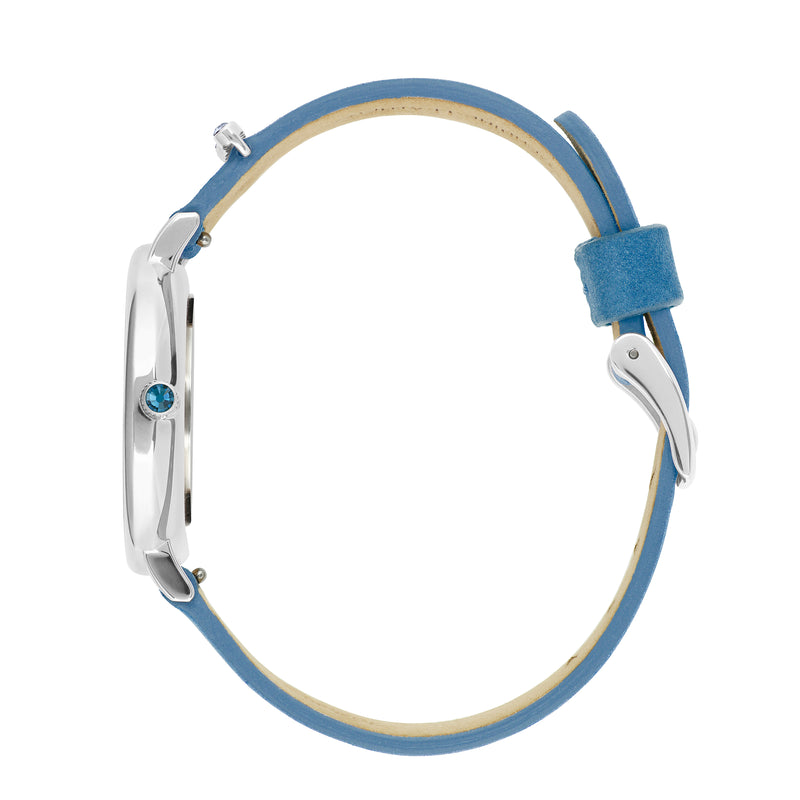 Adore Brilliance 33mm Light Blue Leather Watch Side Detail