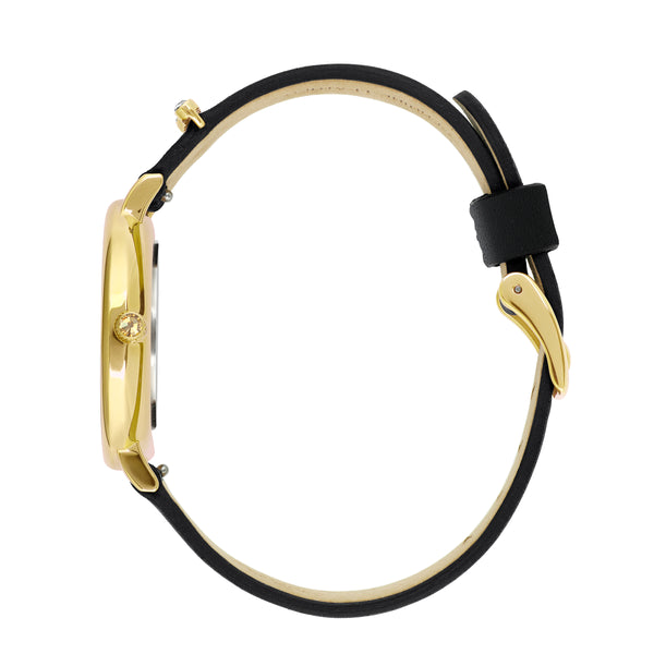 Adore Brilliance 33mm Black Leather Watch Gold Side Detail