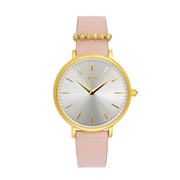 Brilliance 33mm Light Pink Leather Watch - Gold Plated / Swarovski® Crystal