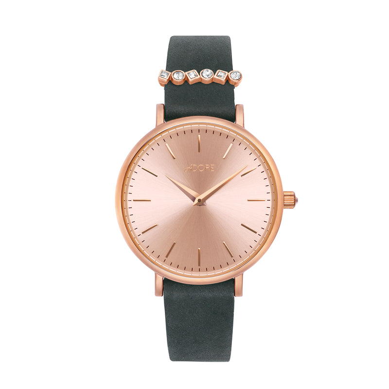 Adore Brilliance 33mm Black Leather Watch Rose Gold Detail