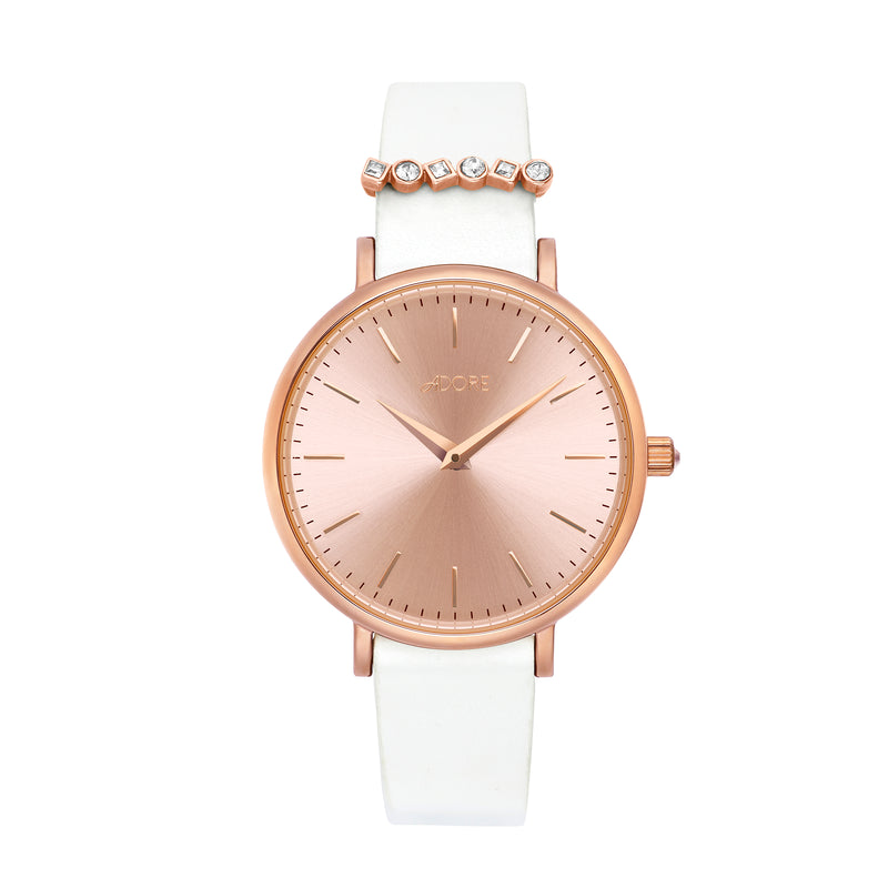 Brilliance 33mm White Leather Watch - Rose Gold Plated / Swarovski® Crystal
