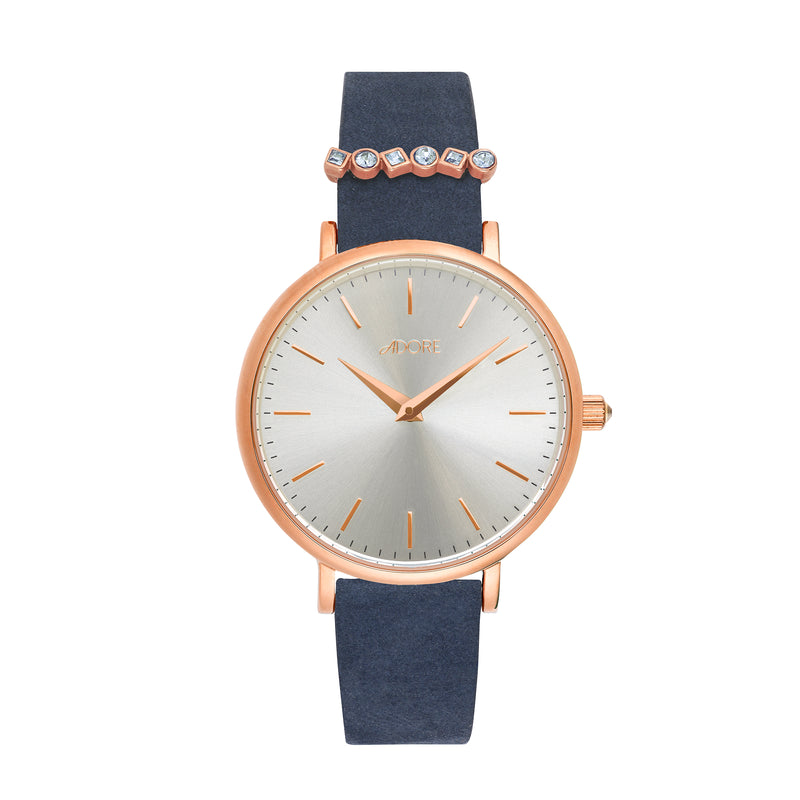 Adore Brilliance 33mm Navy Leather Watch Detail