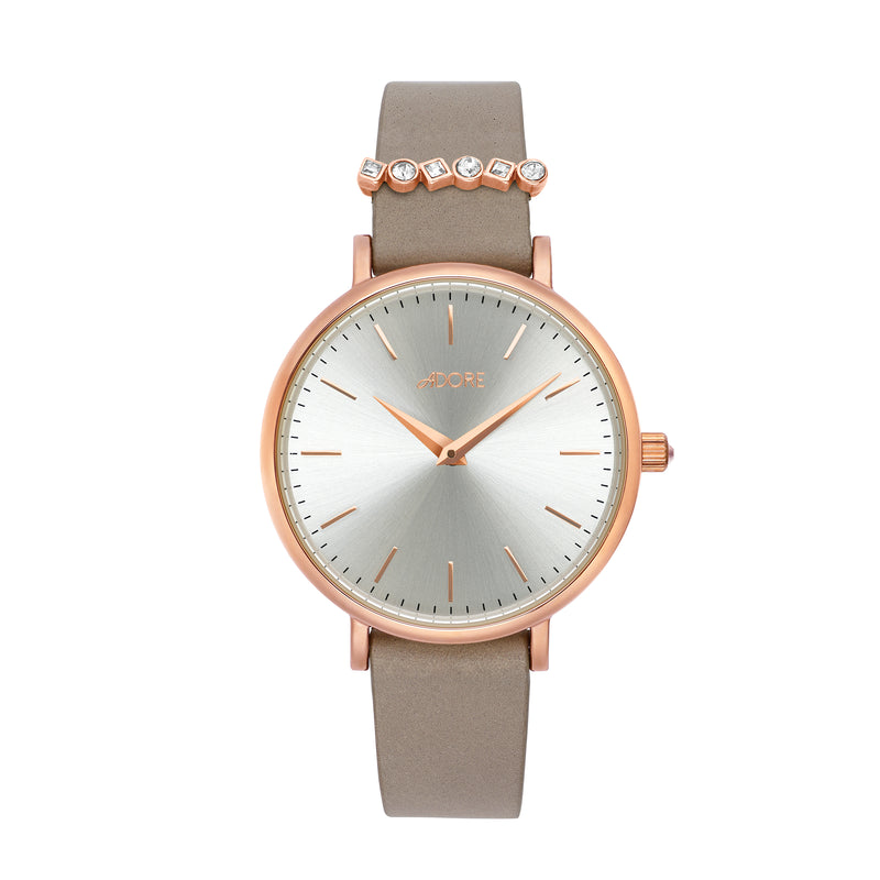 Brilliance 33mm Grey Leather Watch - Rose Gold Plated / Swarovski® Crystal