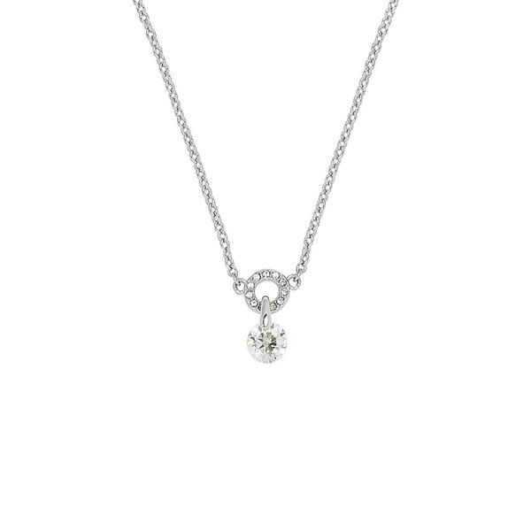 Round CZ Pavé Ring Pendant Necklace - Rhodium Plated / Swarovski® Crystal