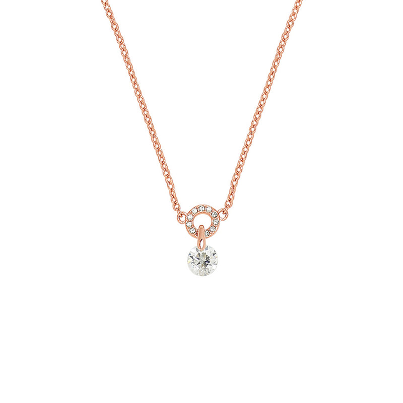 Adore Allure Round CZ Pavé Ring Pendant Necklace