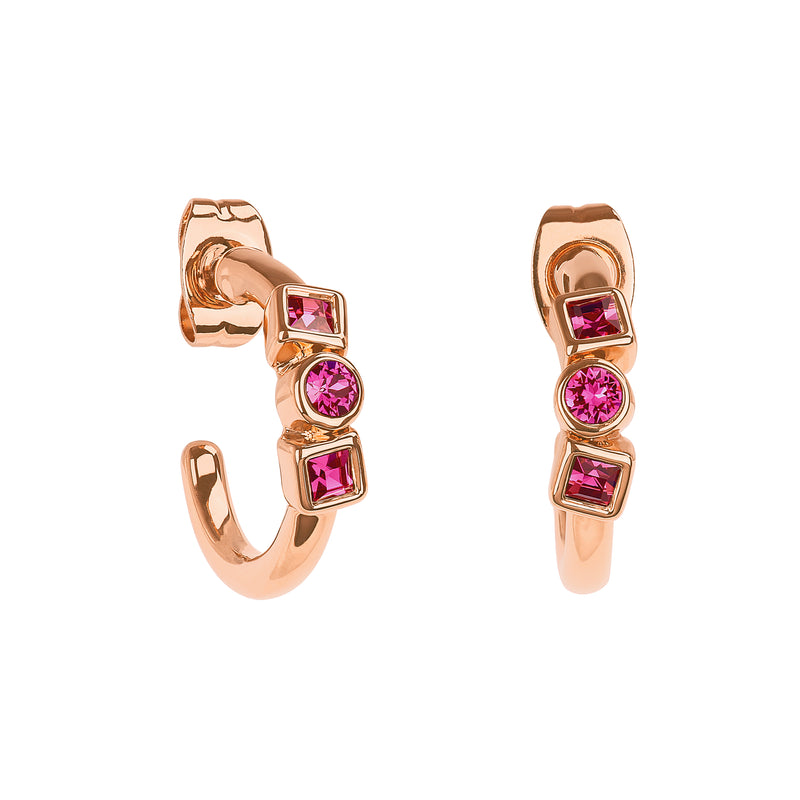 Mixed Crystal Mini Hoops - Rose Gold Plated / Fuchsia Swarovski® Crystal