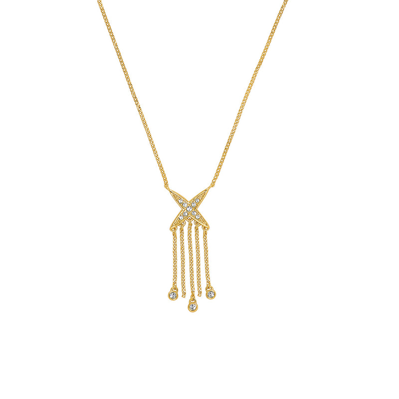 4 Point Star Fringe Necklace - Gold Plated / Swarovski® Crystal