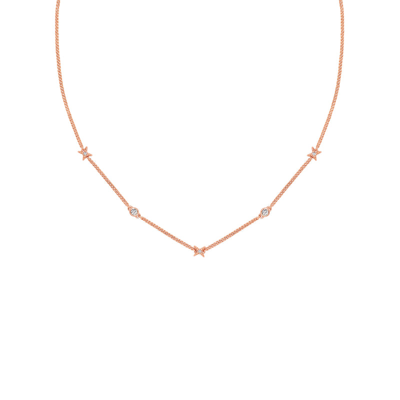 Adore Elegance 4 Point Star Station Necklace