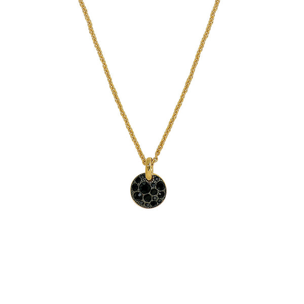 Mini Pavé Disc Pendant Necklace - Gold Plated / Jet Swarovski® Crystal