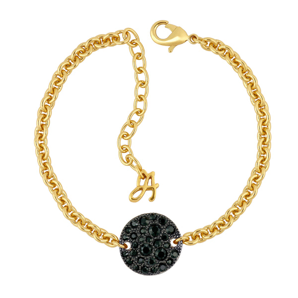 Small Pavé Disc Bracelet - Gold Plated / Jet Swarovski® Crystal