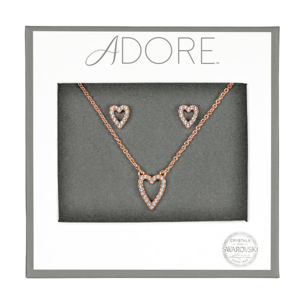 Pavé Heart Gift Set - Crystal/Rose Gold Plated