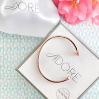 Skinny Pavé & Stone Bangle - Crystal/Rose Gold Plated