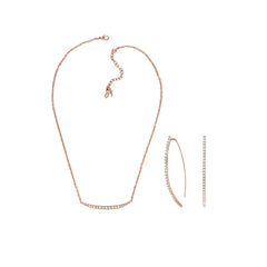 Pavé Arc Earring & Curved Bar Necklace Gift Set - Crystal/Rose Gold Plated