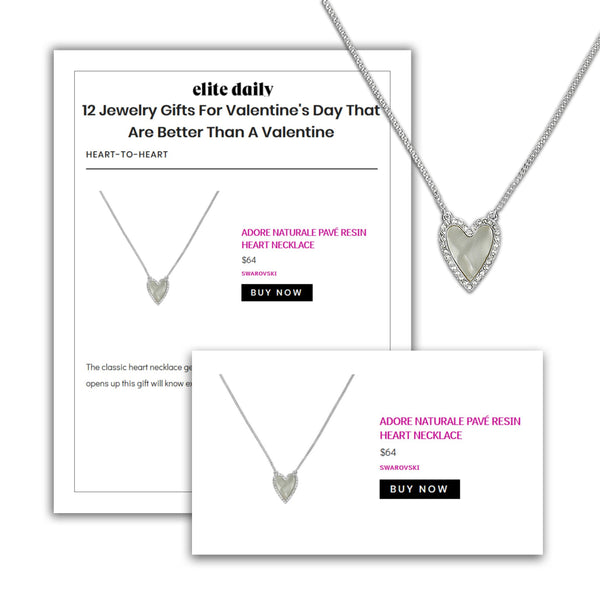 Adore Naturale Rhodium Pavé Resin Heart Necklace Editorial