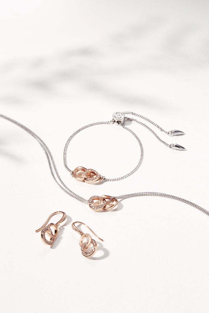 Interlocking Ring Necklace - Crystal/Rhodium/Rose Gold Plated