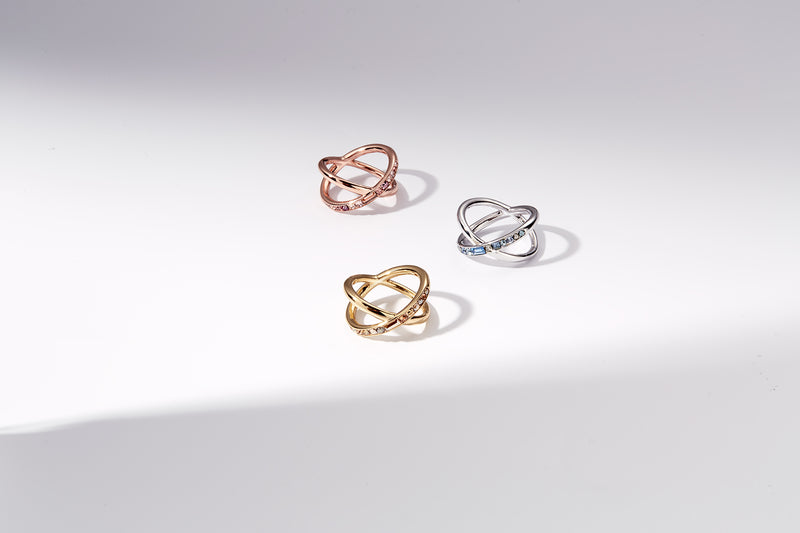 Baguette & Round Crossing Ring- Crystal/Rose Gold Plated