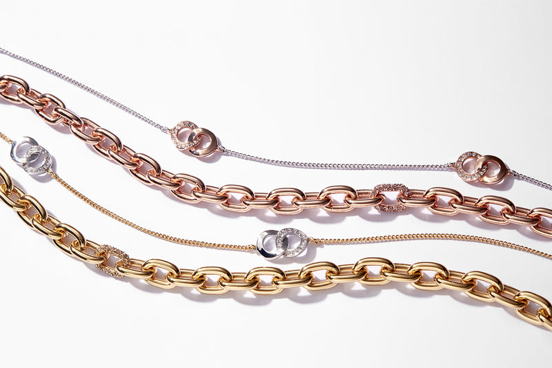 Lozenge Chain & Pavé Bracelet - Crystal/Gold Plated