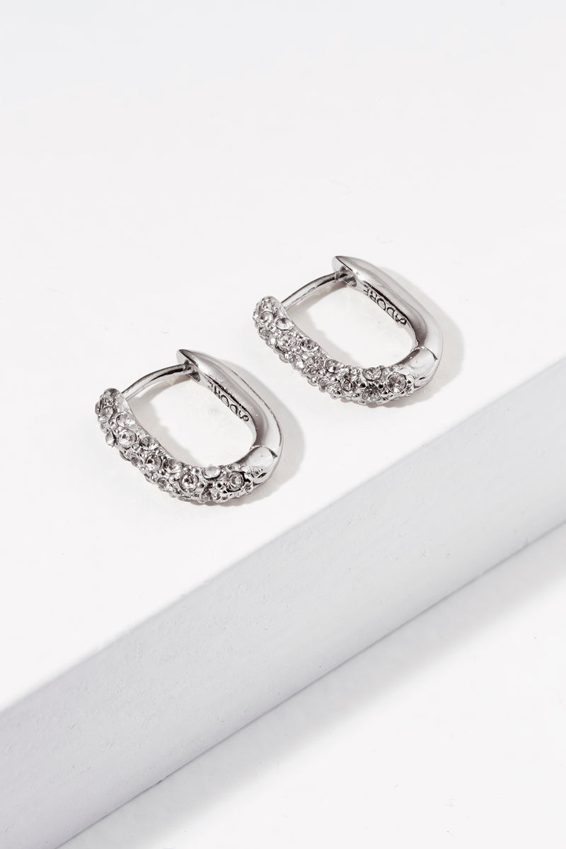 Lozenge Pavé Earrings - Crystal/Rhodium Plated