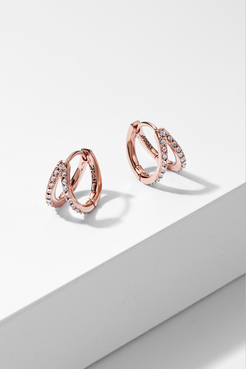 Adore Elegance Rose Gold Pavé Double Mini Hoops Image